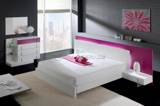 Beautiful Modern White And Fuchsia Bedroom Set House Of Anaïs